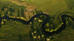 Mooi landschap met een hommel Stock Foto's
