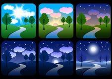 Mooi landschap met gradiënten stock illustratie