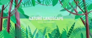 Mooi landschap met groene bladeren van tropische bomen en installaties die in exotisch regenwoud of wildernis tegen meer groeien stock illustratie