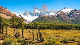 Mooi landschap met MT Fitz Roy in Los Glaciares Nationaal Park, Patagonië, Argentinië, Zuid-Amerika Stock Afbeeldingen