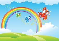 Mooi landschap met regenboog   Royalty-vrije Illustratie