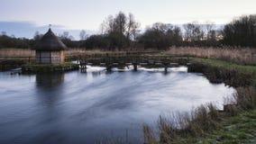 Mooi landschap op ijzige de Winterochtend van palingsvallen over F Stock Afbeelding