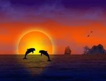 Mooi landschap op zonsondergang royalty-vrije illustratie