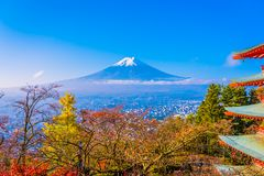 Mooi landschap van bergfuji rond de boom van het esdoornblad in de herfstseizoen royalty-vrije stock afbeelding