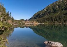Mooi landschap van bergmeer Hoge tatras polen Stock Foto's