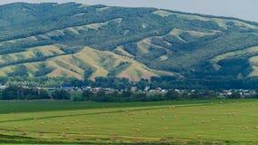 Mooi landschap van een gebied met hooibalen tegen de grote heuvel stock footage