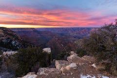 Mooi Landschap van Grand Canyon bij zonsondergang Stock Fotografie