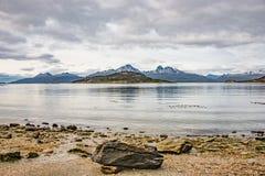 Mooi landschap van lengabos, bergen en lagune bij Band Stock Fotografie