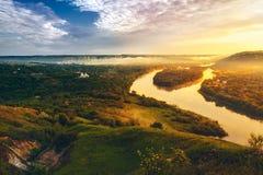 Mooi landschap van rivier Dniester Stock Foto