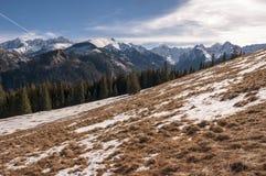 Mooi landschap van sneeuwbergen Stock Afbeeldingen
