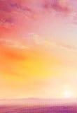 Mooi landschapslandschap met gouden hemel en purpere gebieden bij dageraad, olie op canvas vector illustratie