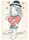 Mooi leuk meisje met een hart stock illustratie