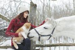 Mooi leuk meisje met wit paard en grote pluizige kat in de winter sneeuwpark Het mooie witte paard van de meisjesliefkozing Portr Stock Fotografie