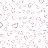 Mooi leuk naadloos patroon met harten en glimlach Ononderbroken patroon, achtergrond voor druk Vector in vlakke stijl Stock Foto's