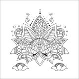 Mooi Lotus Ornament Vectoryoga Stock Afbeelding