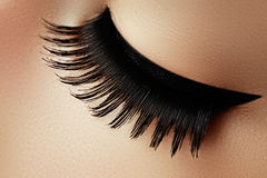 Mooi macroschot van vrouwelijk oog met extreme lange wimpers a Stock Foto
