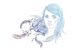 Mooi maniermeisje met abstract haar Kleurend boek voor adu Royalty-vrije Stock Afbeeldingen