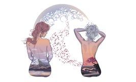 Mooi maniermeisje met abstract haar Kleurend boek voor adu vector illustratie