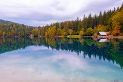 Mooi meer, Fusine-bergmeer in de herfst en Mangart-berg op de achtergrond in de noordelijke alpen van Italië stock fotografie