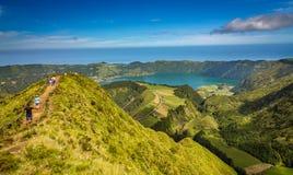 Mooi meer van Sete Cidades, de Azoren, Portugal Europa Stock Afbeelding
