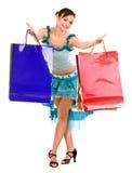 Mooi meisje in balkleding het winkelen. royalty-vrije stock foto's