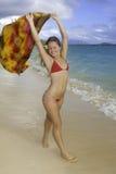 Mooi meisje bij het strand Stock Afbeelding
