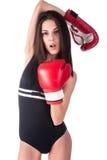Mooi meisje in bokshandschoenen Stock Fotografie