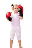 Mooi meisje in bokshandschoenenponsen Royalty-vrije Stock Foto's