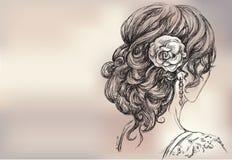 mooi meisje, bruids kapsel vector illustratie