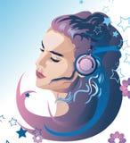 Mooi meisje dat aan muziek luistert Stock Illustratie