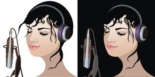 Mooi meisje dat aan muziek luistert Royalty-vrije Illustratie