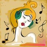 Mooi meisje dat aan muziek luistert Stock Foto's