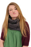 Mooi meisje dat haar afkeuring toont Royalty-vrije Stock Foto