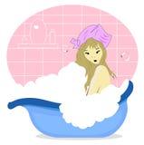 Mooi meisje dat van een bad geniet Royalty-vrije Stock Afbeeldingen