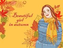 Mooi meisje in de herfst stock illustratie