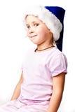 Mooi Meisje in de hoed van de Kerstman Royalty-vrije Stock Fotografie