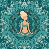 Mooi meisje in de lotusbloempositie inzake de mat voor yoga royalty-vrije illustratie
