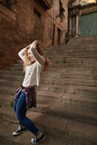 Mooi Meisje in de Oude Stad Royalty-vrije Stock Fotografie