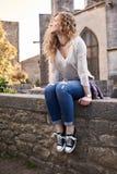 Mooi Meisje in de Oude Stad stock fotografie