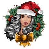 Mooi meisje die de kleren van de Kerstman op witte achtergrond dragen Vector illustratie stock illustratie