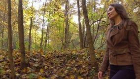 Mooi meisje die door de herfsthout lopen die een picknickmand houden Profielmening, 4K steadicam video stock videobeelden