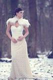 Mooi meisje die een kantkleding dragen Royalty-vrije Stock Foto