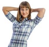 Mooi meisje die een overhemd dragen Royalty-vrije Stock Afbeelding