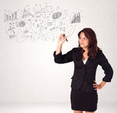 Mooi meisje die grafieken en diagrammen op muur schetsen vector illustratie