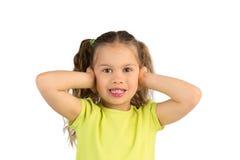 Mooi Meisje die Haar Oren behandelen royalty-vrije stock foto