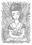Mooi Meisje die met Papegaaien Pagina kleuren Royalty-vrije Stock Fotografie