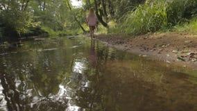 Mooi meisje die op de bank van bosrivier lopen stock videobeelden