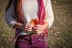 Mooi meisje die zich met esdoornbladeren bevinden royalty-vrije stock fotografie