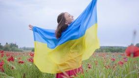 Mooi meisje die zich op die een papavergebied bevinden met vlag van de Oekraïne wordt behandeld Verbinding met aard, patriottisme stock video