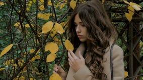 Mooi meisje, droevige stemming, de herfstpark stock video